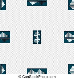 Equalizer icon sign. Seamless pattern with geometric texture. Vector
