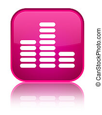 Equalizer icon special pink square button
