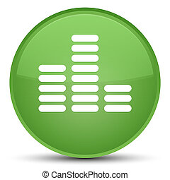 Equalizer icon special soft green round button