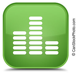 Equalizer icon special soft green square button