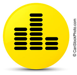 Equalizer icon yellow round button