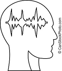 Equalizer inside human head i icon, outline style