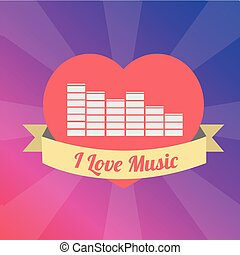 equalizer Love to the music illustration over color background
