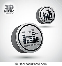 Equalizer vector 3d round icon isolated, 2 versions set.