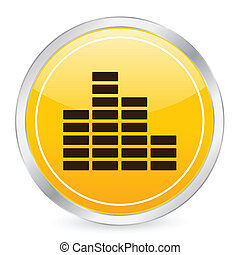 Equalizer yellow circle icon