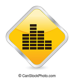 equalizer yellow square icon