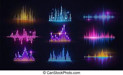equalizers, tecnologia, néon, soe música, áudio, onda