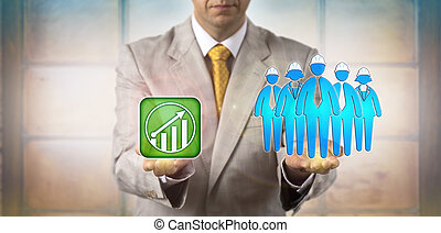 equating, bleu, directeur, croissance, équipe, collier