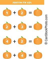 equations., 卡通漫画, 孩子, 数学, 漂亮, 增加, pumpkins.