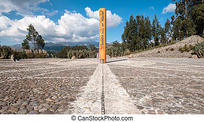 Equator Line Monument, marks the point through which the...