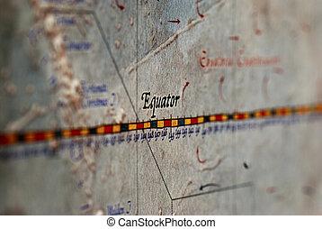 Equator - a closeup of the word Equator on a map