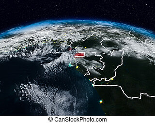 Equatorial Guinea at night - Equatorial Guinea from space at...