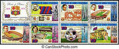 EQUATORIAL GUINEA - CIRCA 1974: A stamp printed in Equatorial Guinea, shows Barcelona Soccer Team, 75th anniversary, miniature sheet of seven plus label, circa 1974