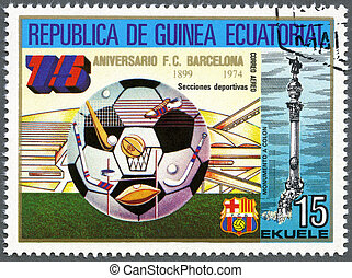 EQUATORIAL GUINEA - CIRCA 1974: A stamp printed in Equatorial Guinea shows football, Barcelona Soccer Team, 75th anniversary, circa 1974