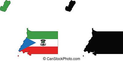 equatorial guinea - vector map and flag of Equatorial Guinea...