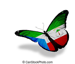 Equatorial Guinea flag butterfly flying, isolated on white background