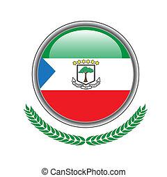 Equatorial-guinea flag button. Equatorial-guinea flag icon. Vector illustration of equatorial-guinea flag on white background.