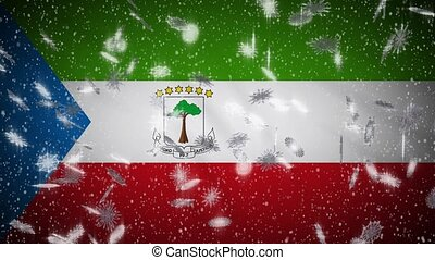 Equatorial Guinea flag falling snow loopable, New Year and Christmas background, loop.