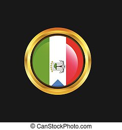 Equatorial Guinea flag Golden button