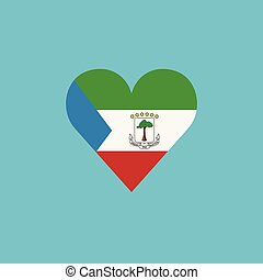 Equatorial Guinea flag icon in a heart shape in flat design