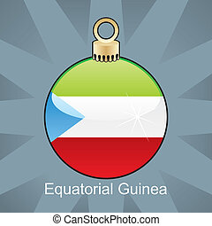 Equatorial Guinea flag in christmas - fully editable vector...