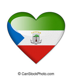 Equatorial Guinea flag in heart shape isolated on white background