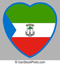 Equatorial Guinea Flag In Heart Shape Vector