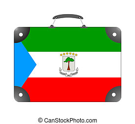 Equatorial Guinea flag in the form of a suitcase for travel on a white background