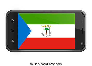 Equatorial Guinea flag on smartphone screen isolated