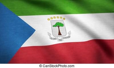 Equatorial Guinea flag waving animation. 4K Seamless...