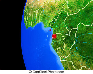 Equatorial Guinea from space on realistic model of planet ...