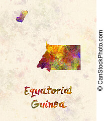 Equatorial Guinea in watercolor