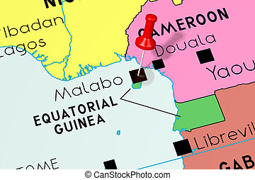 Equatorial Guinea, Malabo - capital city, pinned on political map