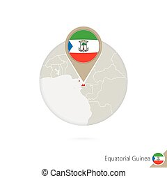 Equatorial Guinea map and flag in circle. Map of Equatorial...