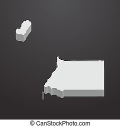 Equatorial Guinea map in gray on a black background 3d