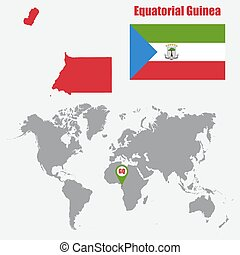 Equatorial Guinea map on a world map with flag and map pointer. Vector illustration