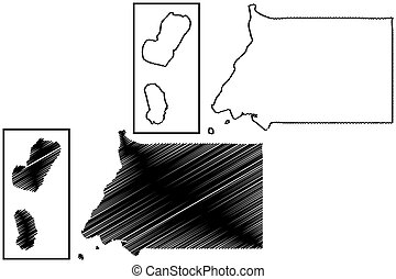 Equatorial Guinea map vector illustration, scribble sketch...