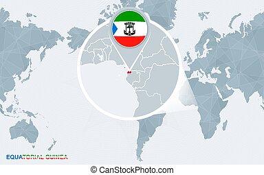 equatorial, guinea., mapa, centrado, ampliado, mundo, américa