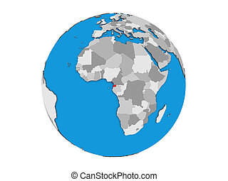 Equatorial Guinea on 3D globe isolated