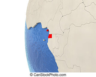 Equatorial Guinea on 3D globe