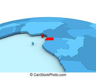 Equatorial Guinea on blue globe - Equatorial Guinea in red ...
