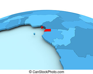Equatorial Guinea on blue political globe - Map of ...