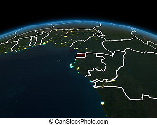 Equatorial Guinea on Earth at night - Space orbit view of ...