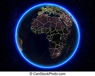 Equatorial Guinea on Earth from space at night - Equatorial ...