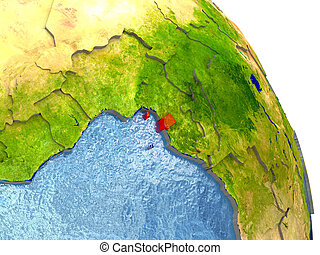 Equatorial Guinea on Earth in red - Equatorial Guinea in red...
