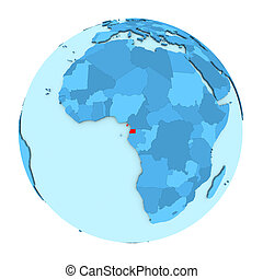 Equatorial Guinea on globe isolated