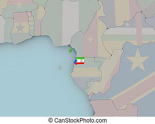 Equatorial Guinea on political globe with flag - Equatorial ...