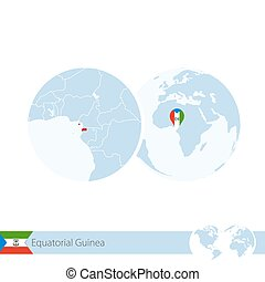Equatorial Guinea on world globe with flag and regional map of Equatorial Guinea.
