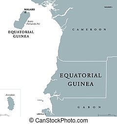 Equatorial Guinea political map with capital Malabo on Bioko...