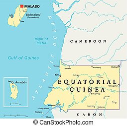 Equatorial Guinea Political Map with capital Malabo, national borders, important cities and rivers. English labeling and scaling. Illustration.